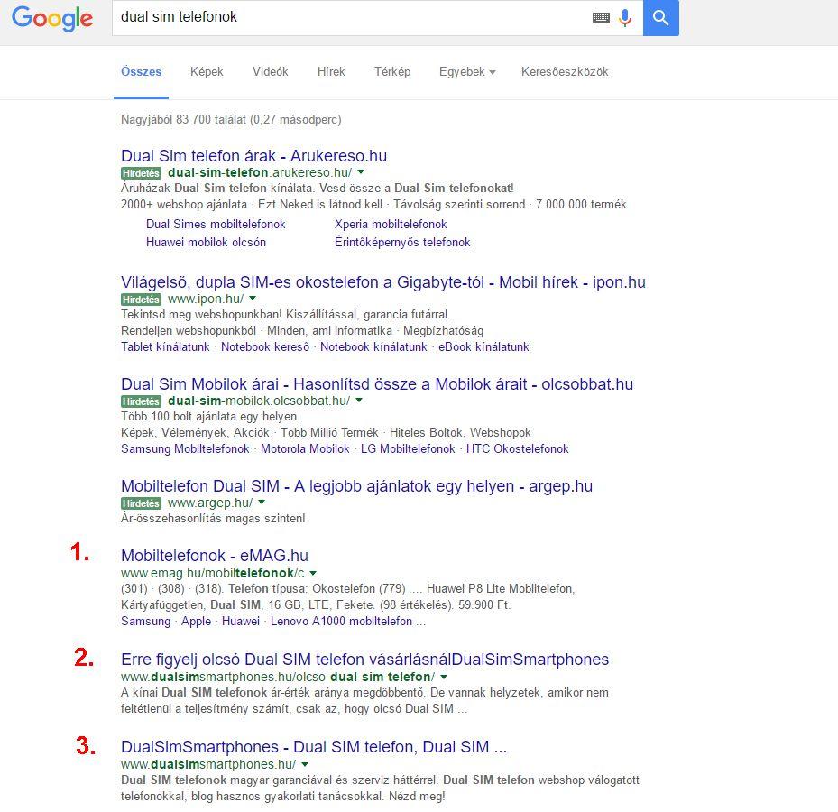Google helyezés inkognitó módban vizsgálva