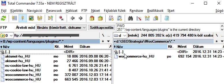 Woocommerce magyar nyelvi fájl feltöltése