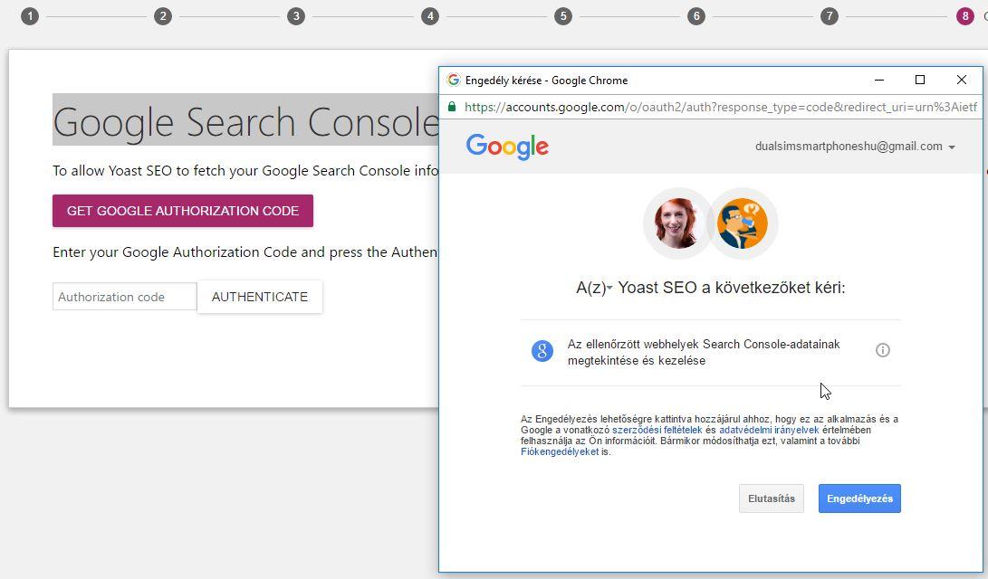 Yoast SEO beállítás: Search Console