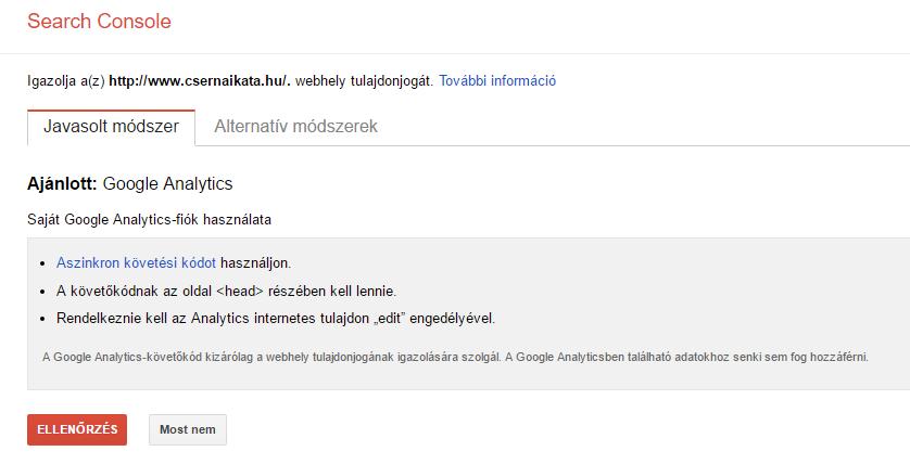 SearchConsole tulajdon igazolása