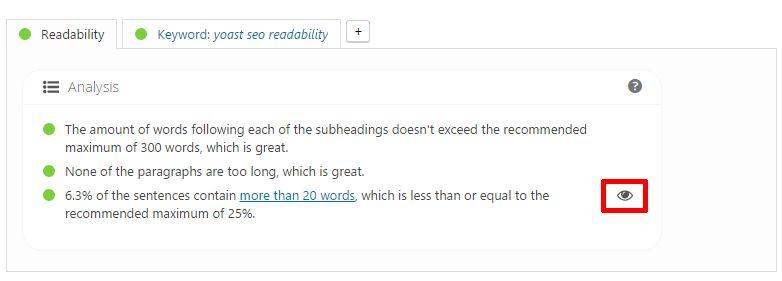 yoast seo readability mondathosszúság ellenőrzés