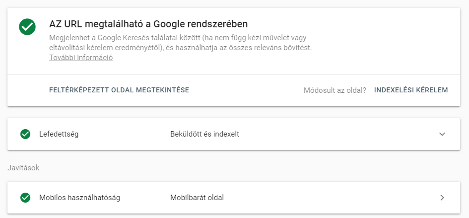 Google Search Console indexelt tartalom