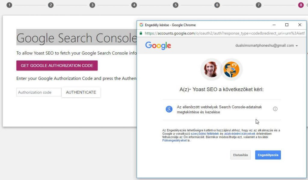 YoastSEO beállítás Search Console authentication